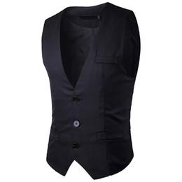 Wholesale mens slim fit pink suit resale online - Men s Suit Vest Good Quality Solid Color Business Wedding Dress Vest For Mens Fashion Slim Fit Waistcoat Men Navy Black Tops