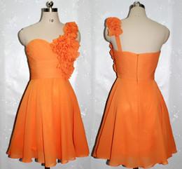 sale chiffon short cocktail dresses 2019 - Hot Sale Orange Floral Embellished One-Shoulder A-Line Cocktail Dresses Beautiful Homecoming Gown Chiffon Ruched Short P