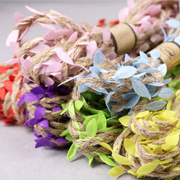 Pack Supplies Australia - Green leaf twine hemp rope Tying ribbons Packaging rope diy handicraft Flower packing Background decoration chandelier and party decoration
