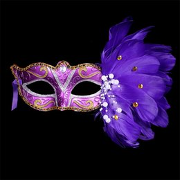 Face Masks For Painting NZ - New Venetian Ostrich Painted Feather Mask for Wedding Dancing Party Masquerade Makeup Halloween Christmas Decor Half Face Mask
