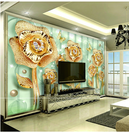 $enCountryForm.capitalKeyWord Australia - Custom Retail 3D Gold Jade Full House Luxury Jewelry Flower Indoor TV Background Wall Decoration Mural