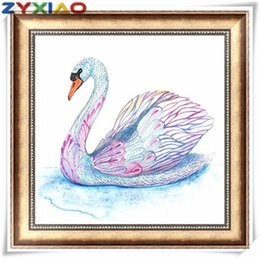 cross decor UK - Diy diamond painting cross stitch kit mosaic home decor gift animal swan lake full round&square diamond 5D embroidery wisdom toy AA0623