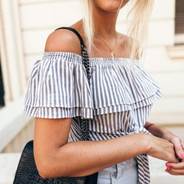 Off Shoulder Blouse Cotton NZ - New Stylish Women clothes Short Sleeve pullover striped Shirts cotton Casual off shoulder Summer Tight Blouses one pieces