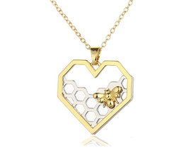 $enCountryForm.capitalKeyWord UK - Insect Honeycomb Bee Necklaces For Women Vintage Gold Silvers Heart Charms Choker Necklaces Fashion Jewelry Party Prom Gift Accessories NEW