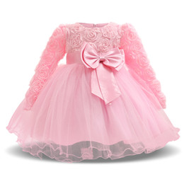 winter christening long sleeves dress NZ - Winter Long Sleeve Floral Tulle Baptism Dresses 1 Year Girl Baby Birthday Dress For Christening Gown Girls Infant Party Dress