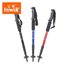 Wholesale Hewolf outdoor straight handle aluminum alloy cane four quarter retractable super light mountain staff camping hiking stick