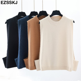 cashmere vests 2020 - 2018 basic casual Cashmere spring Autumn solid Sweater vest Women Long Sleeve loose o-neck sleeveless Sweater female Jum