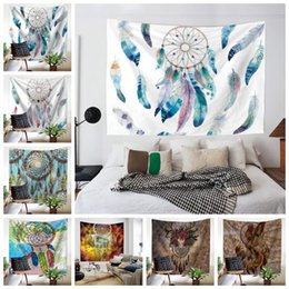 Discount hang curtain wall - Dreamcatcher Tapestry Beach Shawl Polyester Print Pashmina Wall Hanging Throw Bohemian Door Curtain Home Decor Kids Wrap