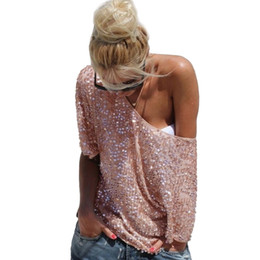 f0c7424ee6f07 Fashion Women Sexy Loose Off Shoulder Sequin Glitter Blouses Summer Casual  Shirts Vintage Streetwear Party Tops