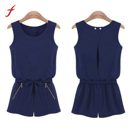 Overalls Jumpsuits For Women Canada - Feitong 2018 Summer Women Casual Sleeveless Jumpsuit Fashion Sexy Bowknot Short Pants Romper Playsuit Overalls For Women rompers