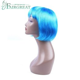 Light bLue cospLay wig short online shopping - Short Bob Hair Wigs Straight With Flat Bangs Synthetic Colorful Cosplay Daily Party Wig for Women Natural As Real Hair Light Blue