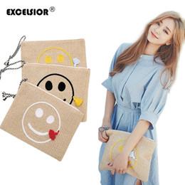 $enCountryForm.capitalKeyWord Canada - EXCELSIOR 2017 Smile Face Straw Beach Handbags Women Weave Clutch Envelop Tassel Bags Ladies Embroidery Messenger Bag Clutch
