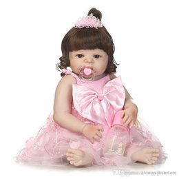 Discount full body toys - Wholesale- 56cm Full Body Silicone Bebe Reborn Baby Girl Dolls Toys for Girls Children Brinquedos Newborn Lifelike Bathe