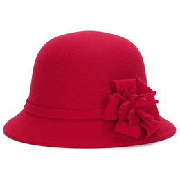 Women Wool Felt Fedora Flowers Hat Ladies Wide Brim Hat Autumn Winter Noble European  American Elegant Girls Fashion Cap 99ca1963251b