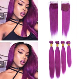 $enCountryForm.capitalKeyWord Australia - 4Pcs Lot Purple Human Hair Weaves with Lace Closure 4 Bundles Light Purple Virgin Peruvian Hair Wefts with Free Middle Three Part Closure
