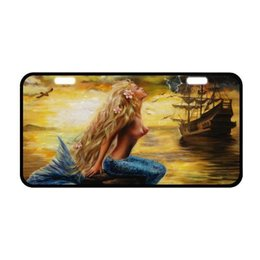 "decorative plate holders UK - Sturdy and Beautiful License Plate Holders Beautiful Mermaid and Ship Pattern for Cars Decorative Front Plate 6.1"" X 11.8"""