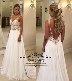 $enCountryForm.capitalKeyWord Australia - Sexy Backless Country Beach Wedding Dresses 2019 A Line V Neck Vintage Lace Plus Size Cheap Bridal Gowns Chiffon Simple Vestido De Novia