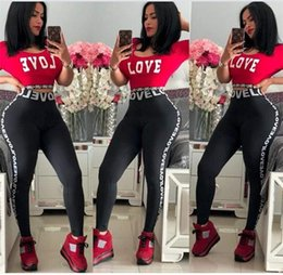$enCountryForm.capitalKeyWord NZ - Love Letter Women Tracksuit Jogger Outfit Short Sleeve T Shirt Crop Top + Pants Leggings 2PCS Set Girls T-shirt Tights Sportswear Suit S-3XL