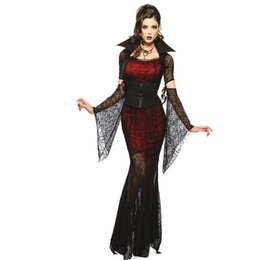 Wholesale women sexy play costume resale online - Halloween Costume Sexy Vampire Costume Women Masquerade Party Cosplay Gothic Halloween Dress Vampire Role Play Clothing Witch
