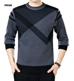 Plaid Knitting Color Crochet NZ - ZOEQO men sweater winter round neck knitted sweaters male casual autumn Cashmere pullovers mens Thick warm jumper plus size S917