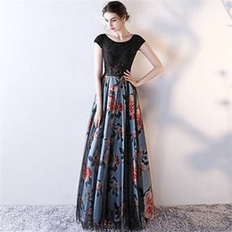 $enCountryForm.capitalKeyWord UK - Modest 2018 Floral Printed Lace Top Evening Dresses Appliques Sexy Flower Prom Dress Formal Floor Length Party Gowns With Short Sleeve