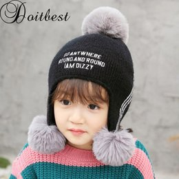 7a91ed0034a Doitbest 2 to 6 Years old Plus velvet girls Beanies three hairballs wool Winter  Baby Child knit hat fur kids boys Earflap Caps