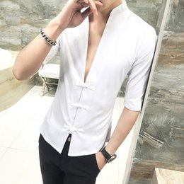 3b6f0d15ade Chinese Style Shirt Men 2018 Summer Slim Fit Classic Pan Kou Design Casual  Mens Shirts Half Sleeve Stand Collar Blouse Homme 3XL