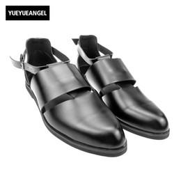 $enCountryForm.capitalKeyWord Canada - Sytlish Mens Leather Pointy Toe Gladiators Sandal Male Cut Out Breathable Buckle Roman Sandals Shoes Black Burgundy Free Ship