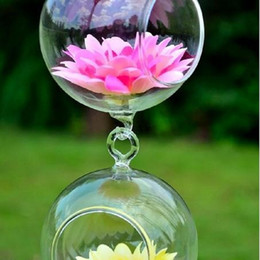 glass hanging ball terrarium 2019 - Clear Ball Glass Hanging Vase Terrarium Hydroponic Container Planter Pot Flower DIY Home Garden Decor discount glass han