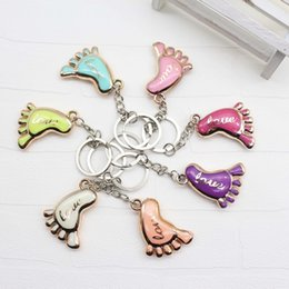 $enCountryForm.capitalKeyWord NZ - Cute Mini Foot Shaped Keychain Love Key rings for Baby Shower Baptism Gifts Giveaway Souvenirs wen5911