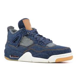 2018 4 4s Denim LS Jeans Travis Basketball Shoes Men Blue Jeans Sneakers  EPACKET FREE XZ107