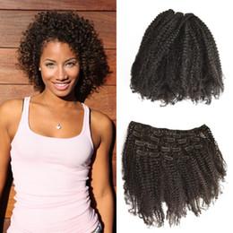 Discount russian peruvian hair - Russian Human Hair 4a,4b,7pcs set Afro Kinky Curly Clip In Human Hair Natural Black For Women Non Processed FDshineHAIR