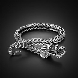 925 silver dragon chain NZ - Solid 925 Sterling Silver Dragon head Bracelet man Male trendsetter Bracelet Simple Teenagers Student jewelry Silver