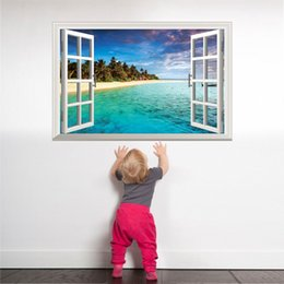 $enCountryForm.capitalKeyWord NZ - 3d stickers [SHIJUEHEZI] Beach Island Window Scenery 3D Sticker PVC Material Wall Posters for Living Room Bedroom House Decoration