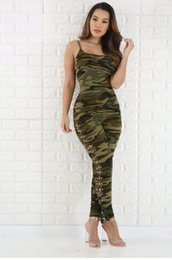 Army cAmouflAge clothing online shopping - Women Summer Sexy Jumpsuit Rompers Camouflage Army Green Suits Sleeveless Women Clothing Set Jumpsuits Size S XL