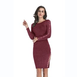 midi sweater UK - Kintted Sweater Dress Women Midi Bodycon Vestido Autumn Winter O Neck Long Sleeve Ribbed Casual Girl Party Dresses BM0138