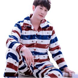 51af51e339 Men s Pajamas Winter Mens Pajama Sets O-Neck Long Sleeve Pyjamas for Men  Sleepwear Thick Warm Coral Fleece Pajamas Male Homewear