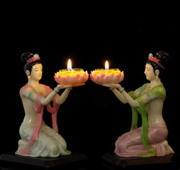 Block Supplies Australia - One pieces Buddha supplies Resin Flying fairy lotus lamp Ghee lamp holder Candle decoration Candlestick 18x12x10cm