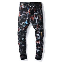 Modelo 3D de los hombres de la moda del diseñador personal Pinted Jeans  Slim Fit pequeños pies pantalones de mezclilla largos Hip Hop Pantalones  5621   656873fa063