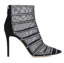 China Sexy Black Mesh Suede Booties Caged Crystal Embellished High Heels Pointed Toe Ankle Boots Gladiator Sandals Women Stiletto Shoe cheap caged gladiator sandals suppliers