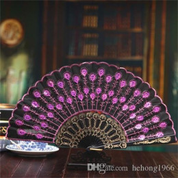 $enCountryForm.capitalKeyWord NZ - Colourful Folding Fan Peacock Tail Sequins Dance Fans Stage Performance Prop Gift For Mun Hot Sale 2 5sz ff