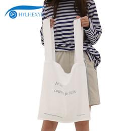 $enCountryForm.capitalKeyWord Canada - Hylhexyr Women Casual Tote Bags Wash Cotton Female Shopper Shoulder Bag Letter Printing Hand Bag Reusable Shopping Handbags