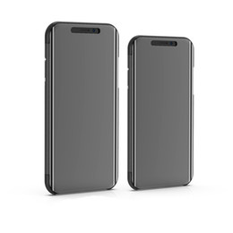 Vertical Iphone NZ - 50pcs Luxury Mirror Clear View Case for iPhone Xs Max Xr Phone Cover Plating Base Vertical Stand