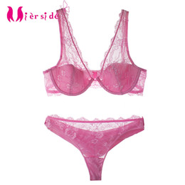 wholesale pink white Transparent girls  Lingerie Underwear Solid bra set  for women Intimates Sexy Cup Underwire Bralette f5e475537