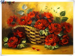 painting basket NZ - 5D Diy diamond painting cross stitch kit rhinestone full round&square diamond embroidery flower red rose basket home mosaic decor yx3130