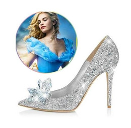 Wholesale Cinderella Shoes High Heels Women Pumps Wedding Shoes Woman Pointed toe Rhinestone Platform Butterfly Crystal Shoes