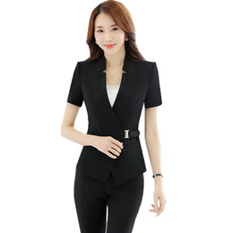 Office ladies jacket suits online shopping - 2018 Women s Suits and Trousers Short Sleeve Jacket Blazer Pieces Office Lady Slim Pant Suits ow0318