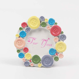 Framed shower online shopping - Baby Shower Favors Photo Frame Mini Lovely Wedding Picture Frames Resin Round Button Ornament Exquisite Card Holder ly jj