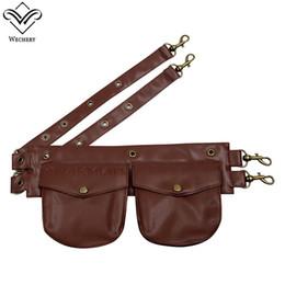 $enCountryForm.capitalKeyWord UK - Wechery Fashion Waist Trainer Corset Pockets Belt for Women Steampunk Gothic Corset Corselet's Pouches Leather Black Brown