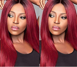 $enCountryForm.capitalKeyWord NZ - Wine red glueless lace human hair front wig straight virgin hair Brazilian two tone 1B 99J wig with middle part middle part